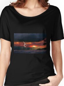 sunset beach storm lightning ocean water trees mountain landscape seascape Women's Relaxed Fit T-Shirt