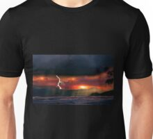 sunset beach storm lightning ocean water trees mountain landscape seascape Unisex T-Shirt