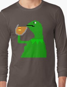None of My Business Meme Pixel Art Frog Long Sleeve T-Shirt