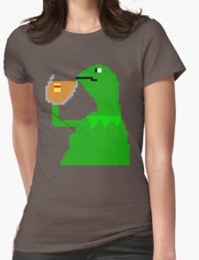 None of My Business Meme Pixel Art Frog Womens Fitted T-Shirt