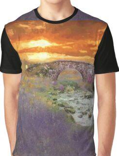 English Countryside Sunset Impressionist Graphic T-Shirt
