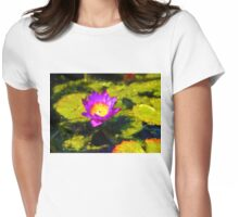 Vivacious Waterlily Impression Womens Fitted T-Shirt