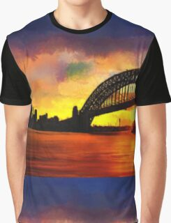 Sydney Harbour Australia Impressionist Sunset Art Graphic T-Shirt