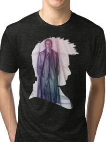 The Tenth Doctor Silhouette with Colorful Sketch Tri-blend T-Shirt
