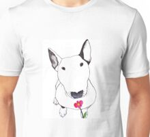 Bull Terrier Smelling Flowers  Unisex T-Shirt