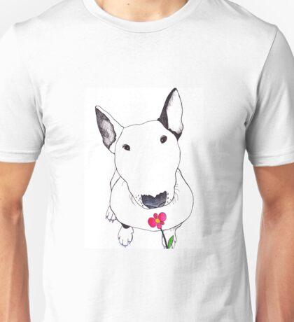 Bull Terrier Smelling Flowers  Unisex T-Shirt