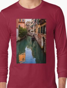 Impressions of Venice - Green Reflections and a Gondola Long Sleeve T-Shirt