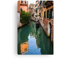 Impressions of Venice - Green Reflections and a Gondola Canvas Print