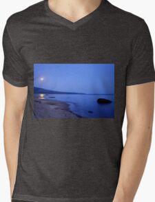 Moon Shimmering on Superior Mens V-Neck T-Shirt