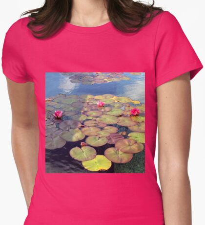 Pink Water Lilies at Sunset  Womens Fitted T-Shirt