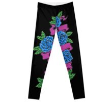 roses with scrolls.. live laugh love Leggings