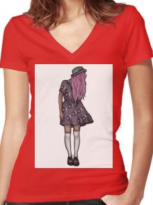 Dark Hipster Girl Women's Fitted V-Neck T-Shirt
