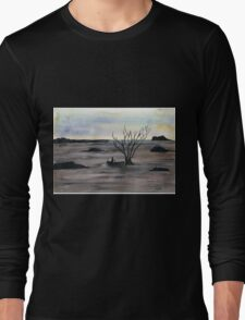 Abstract Landscape in cold colors - Watercolor Painting Long Sleeve T-Shirt