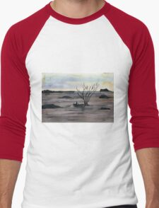 Abstract Landscape in cold colors - Watercolor Painting Men's Baseball ¾ T-Shirt