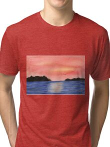 Sunset - Watercolor Painting Tri-blend T-Shirt