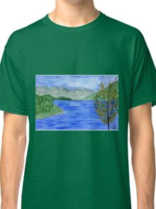 Blue Landscape - Watercolor Painting Classic T-Shirt