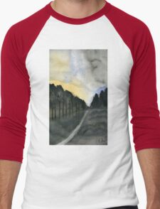 Late Afternoon - Watercolor Painting Men's Baseball ¾ T-Shirt
