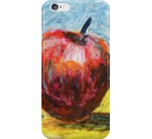 Red apple. Oil pastel painting iPhone Case/Skin