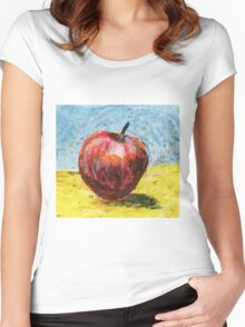 Red apple - Oil pastel painting Women's Fitted Scoop T-Shirt