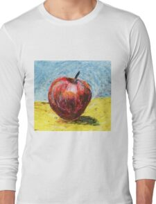 Red apple - Oil pastel painting Long Sleeve T-Shirt