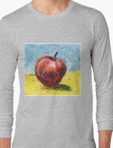 Red apple. Oil pastel painting Long Sleeve T-Shirt
