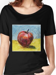 Red apple - Oil pastel painting Women's Relaxed Fit T-Shirt