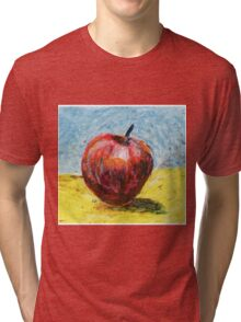Red apple. Oil pastel painting Tri-blend T-Shirt