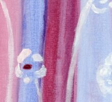 White tall flowers - Acrylic abstract painting Sticker