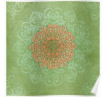 Mandala Dream in peach & green  Poster