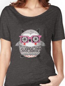 Cool Animals Embroidered Look Owl Women's Relaxed Fit T-Shirt
