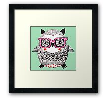 Cool Animals Embroidered Look Owl Framed Print