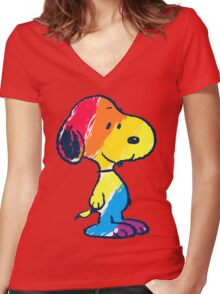 Snoopy Colorful Women's Fitted V-Neck T-Shirt