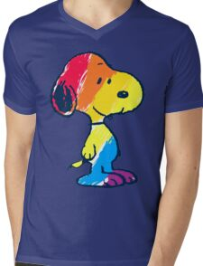 Snoopy Colorful Mens V-Neck T-Shirt