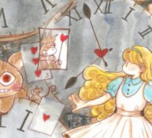Alice's time travel in wonderland Sticker