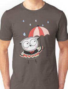 Cartoon Birds Rainy Day Owl Unisex T-Shirt