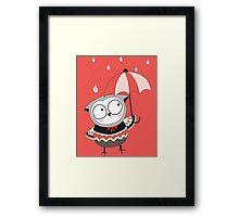 Cartoon Birds Rainy Day Owl Framed Print