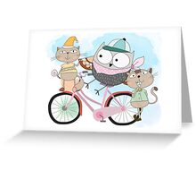 Cute Cartoon Animals Owl and Pussy Cats Greeting Card