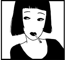 Have a Cig, Girl (black on white) Photographic Print