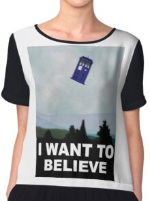"""I Want To Believe"" Police Public Call Box version.  Chiffon Top"