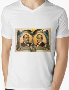 Artist Posters For president Grover Cleveland of New York For vice president Thos A Hendricks of Indiana SS Frizzell 0255 Mens V-Neck T-Shirt