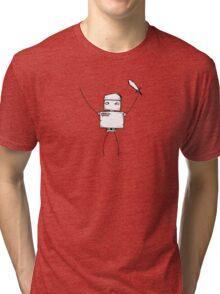 BACKSLASH the robot - white BG Tri-blend T-Shirt
