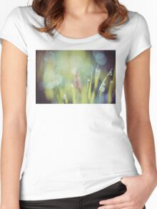 Morning Grass Macro Retro 3 Women's Fitted Scoop T-Shirt