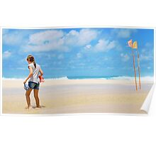 Girl & Flags, Pipeline, North Shore, Oahu, Hawaii Poster