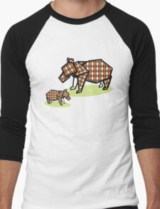 Mother Bear Baby Bear Origami Men's Baseball ¾ T-Shirt
