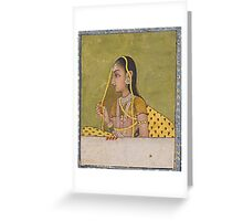 A portrait of a lady, India, Mughal, 18th century Greeting Card