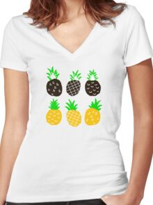 Black pineapple Women's Fitted V-Neck T-Shirt