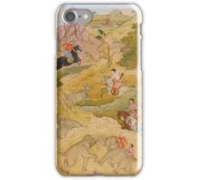 A prince on horseback hunting rhinoceros, attributed to Nar Singh, Mughal,  iPhone Case/Skin