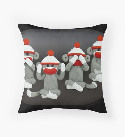 ☝ ☞ THE THREE MONKEYS PLUS ONE,MIZARU,MIKAZARU,MAZARU,& SHIZARU THE GOLDEN RULE -THROW PILLOW ☝  Throw Pillow