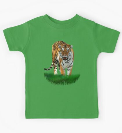 Tiger on Green Kids Tee