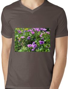 Beautiful spring purple flowers in the park. Mens V-Neck T-Shirt
